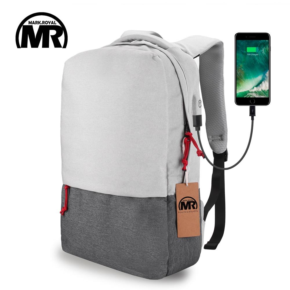 MARKROYAL External USB Charge Laptop Backpack Waterproof Rucksack Notebook Computer Bag 15.6 Inch for Women Men School Bag