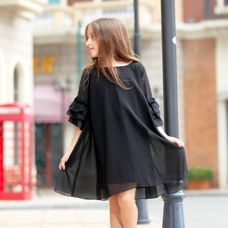 Big Girls Chiffon Dress Flare Sleeve Black Color Kids Girls Princess Party Dress Summer Autumn Child