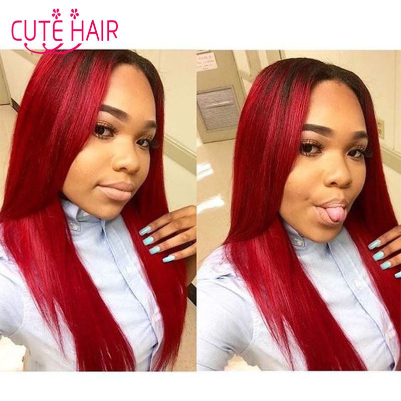 2017 Ombre Human Hair Bundles Red Ombre Straight Virgin Hair Weave