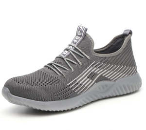 Image 3 - Flyknit Breathable Steel Toe Cap Work Safety Shoes Outdoor Men Anti slip Deodorant Steel Puncture Proof Construction