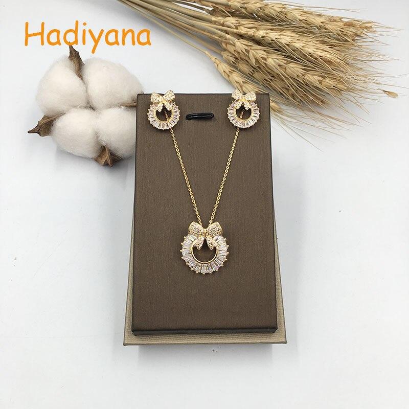 HADIYANA New Fashion Cubic Zirconia Necklace Jewelry Set For Women Wholesale Bowknot 2pcs Daisy Jewelry Sets Drop Shipping CN236