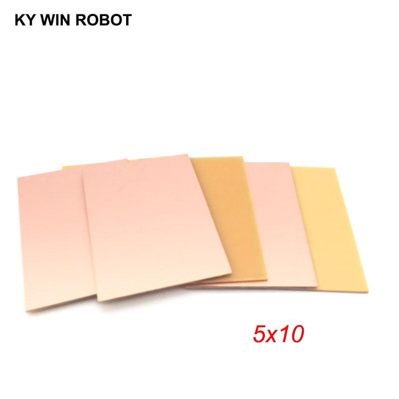 5 Pcs PF PCB 5*10cm Single Side Copper Clad Plate DIY PCB Kit Laminate Circuit Board 5x10cm 50x100x1.5mm