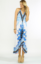 Handkerchief Dress Blue White Floral and Horse Print Backless Sexy Halter Neck Dress FT168
