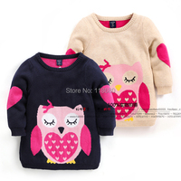 new 2015 spring baby clothing girls sweater baby fashion cartoon sweaters kids all match medium long knitted sweater pullover