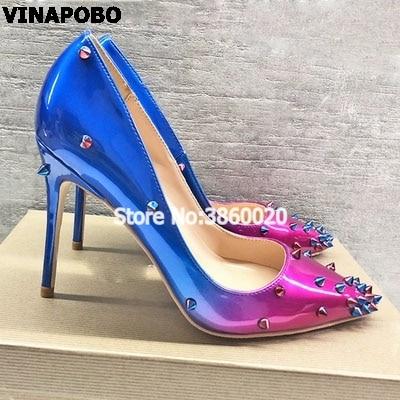 Sexy Talons 8cm Mince Femmes Pointu Bout 10cm Noce Pompes De Rivet Bureau Vinapobo 12cm Spikes Talon Gradient Haute Mode Dames Chaussures f6gb7yYv