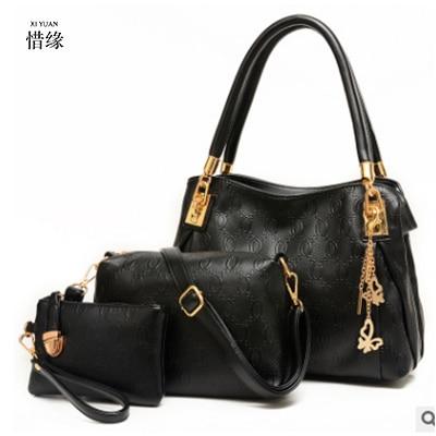 XIYUAN BRAND 3 PCS/Set Women Composite hand Bag Vintage Women Messenger Bags Shoulder Handbag Purse Wallet Leather Handbags gold