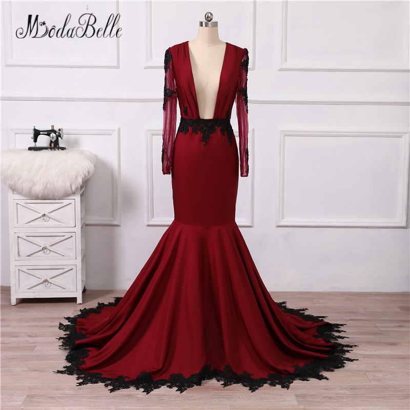 4673d9cb9f modabelle Women Black Burgundy Mermaid Prom Dresses 2018 Deep V Neck  Backless Formal Long Sleeves Arabic Evening Gowns Lace