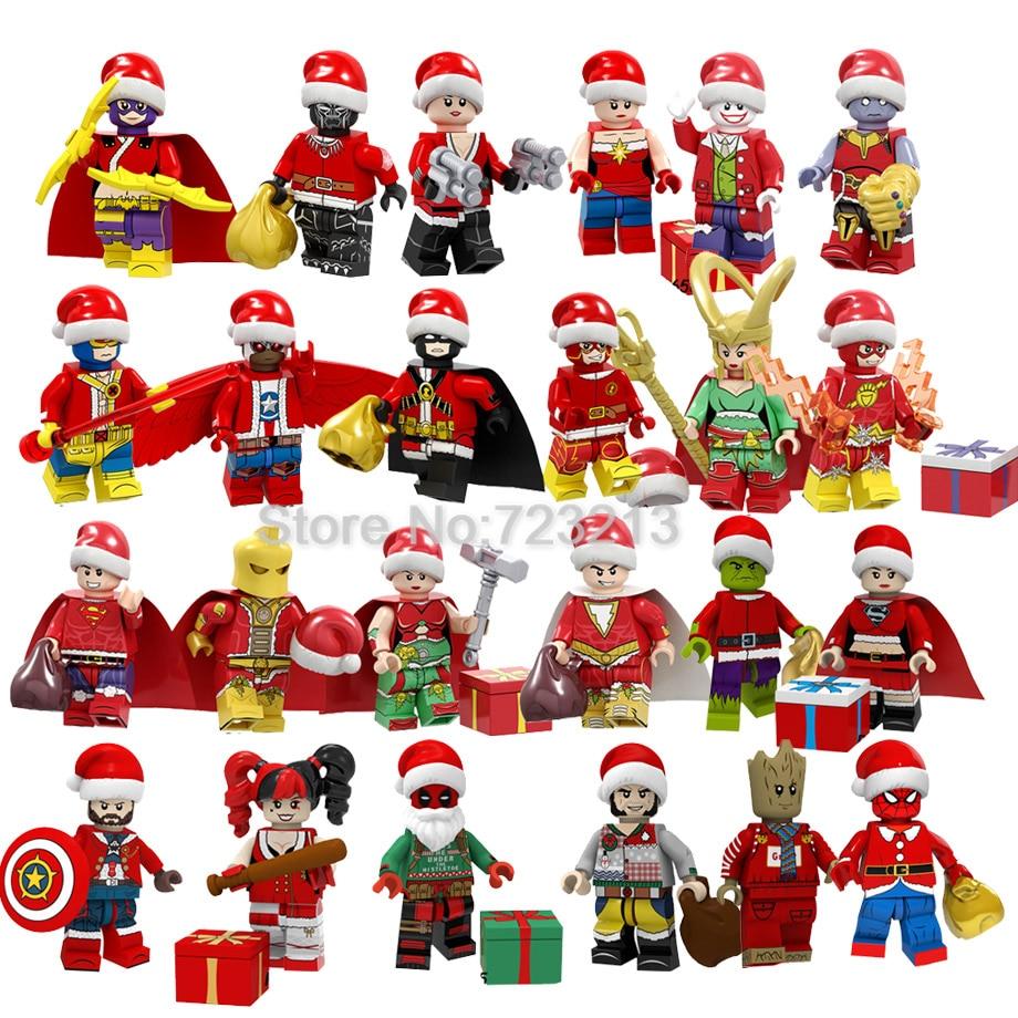 Single Christmas Super Hero Figure Black Panther The Flash Captain America Deadpool Xmas Hulk Spider-Man Building Blocks Toys