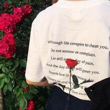 цена на NiceMix Tee Shirt Femme 2019 Summer Clothes Woman Tshirt Top Korean Ulzzang Harajuku Letter Rose Print Short Sleeve T-shirt Wome