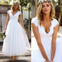 a2cdd021cd 2019 Vintage White Tea Length Bohemain Wedding Dresses Lace Tulle Cap  Sleeve Boho Garden Beach Bridal
