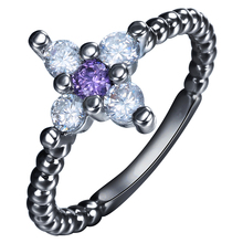 Black Cross Promise Rings Cross Paved With Purple White Cz Zircon Fashion Sideways Jewelry Gift Engagement Rings Size 7-9 cross cross at0362ds 7
