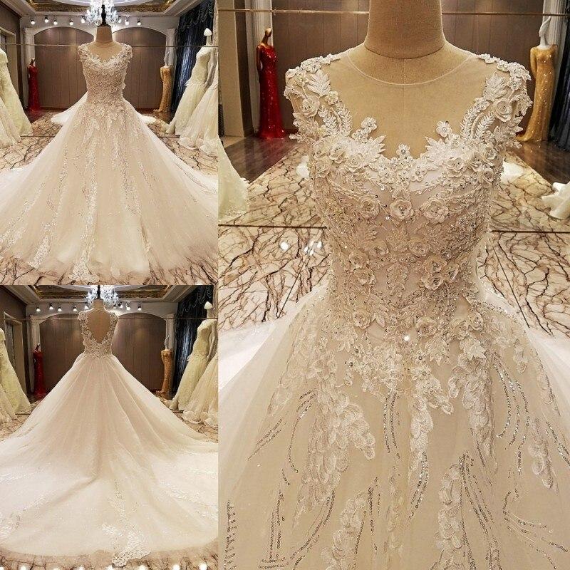 LS70788 elegante encaje vestido de novia vestido de bola de cristal vestidos de