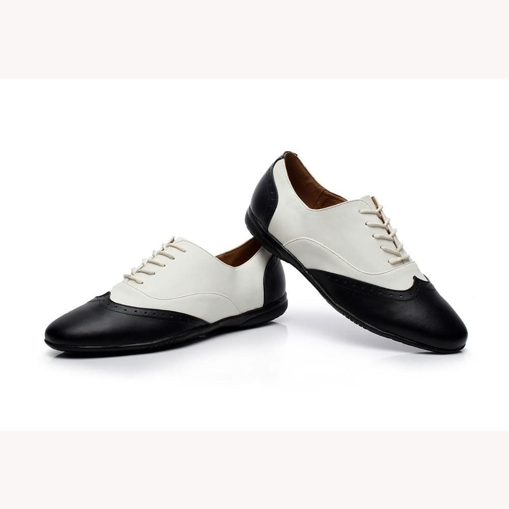 Customized by Hand Genuine Leather Salsa Shoes Men s Black White Latin Dance Shoes Flat Heel