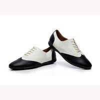 Personalizado à Mão Genuíno Couro Sapatos de Salsa Sapatos de Dança Latina Calcanhar Plana dos homens Black & White Boy's Moderno sapatos VA30 1644