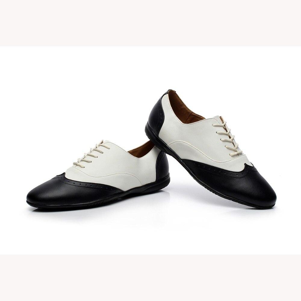 カスタマイズされた手で本革サルサの靴男性の黒&白ラテンダンスシューズフラットヒール男の子の現代靴VA30 1644  グループ上の スポーツ & エンターテイメント からの ダンスシューズ の中 1