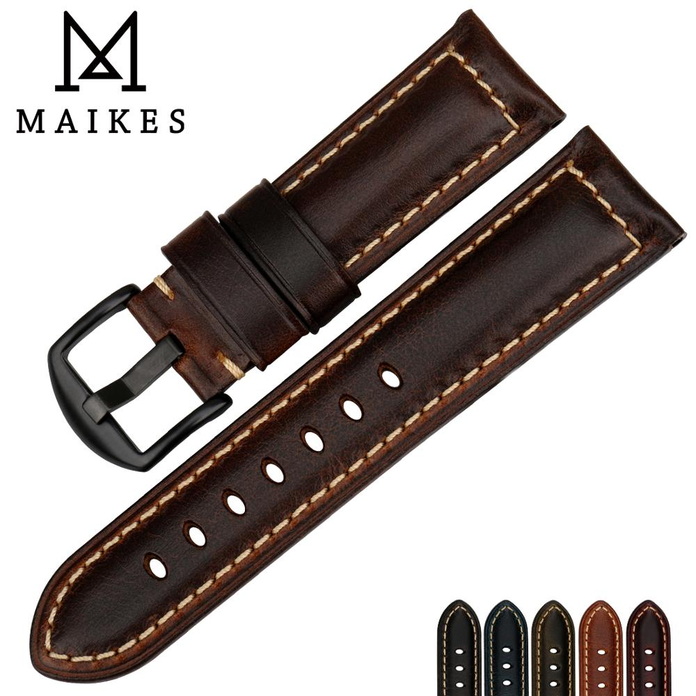 MAIKES High quality watch accessories watchbands 20mm - 26mm brown vintage oil wax leather watch band for Fossil watch strap часы fossil jr1390 nate leather watch brown