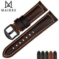 MAIKES Watch accessories watchbands 18mm - 26mm brown vintage oil wax leather watch band for samsung gear s3 Fossil watch strap