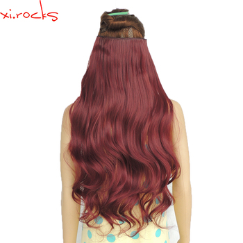 wjj12070/2p  Xi.Rocks 5 Clip in Extension 70cm Synthetic Hair Clips Extensions 120g Curly Hairpin Hairpiece Wine Red Color BUG - discount item  40% OFF Synthetic Hair