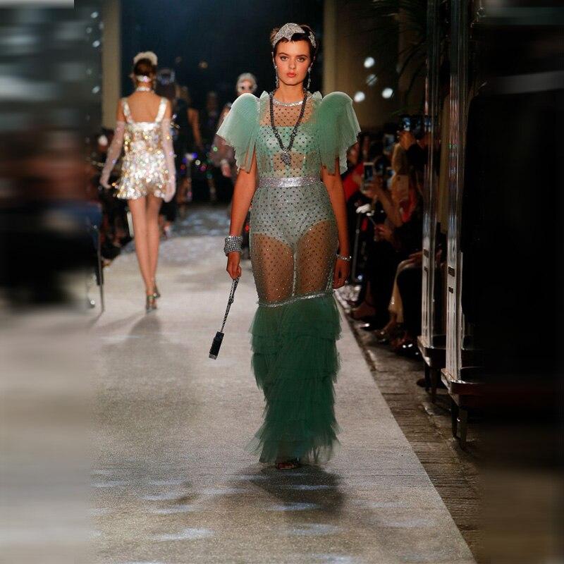 Fashion Long Lace Dress High Quality Mesh Short Sleeve