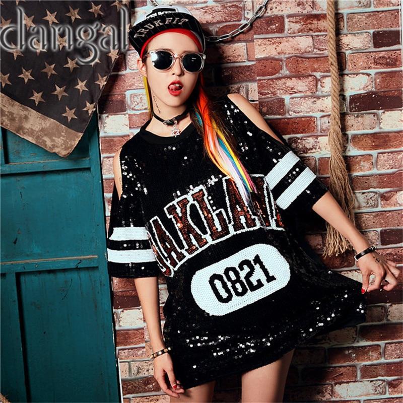 StraplessSequin T-shirt 2018 Fashion Hip Hop Bling T-shirt Woman Summer T- c0f09a781743