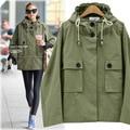 Fashion Winter Spring Women Army Green Jacket Simple Loose Pocket Female Coat Windbreaker Outwear with Hooded JA8047