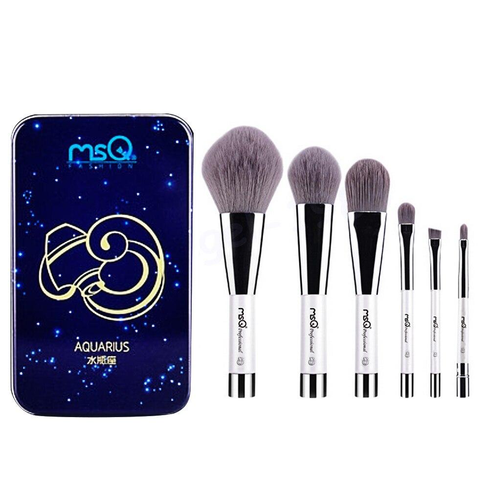 6 Pcs Makeup Kosmetik Serat Arang Bambu Brush Blush Powder Foundation Eye Shadow Alis Bibir Alis Mata Kit dengan Besi Case Aquarius-Internasional