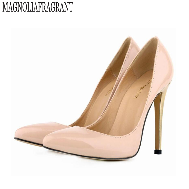 2017 Shoes High Heels Nude Women Pumps Metal Thin Heel Women's Shoes Summer Fashion Pointed Toe Wedding Shoes Large size w860