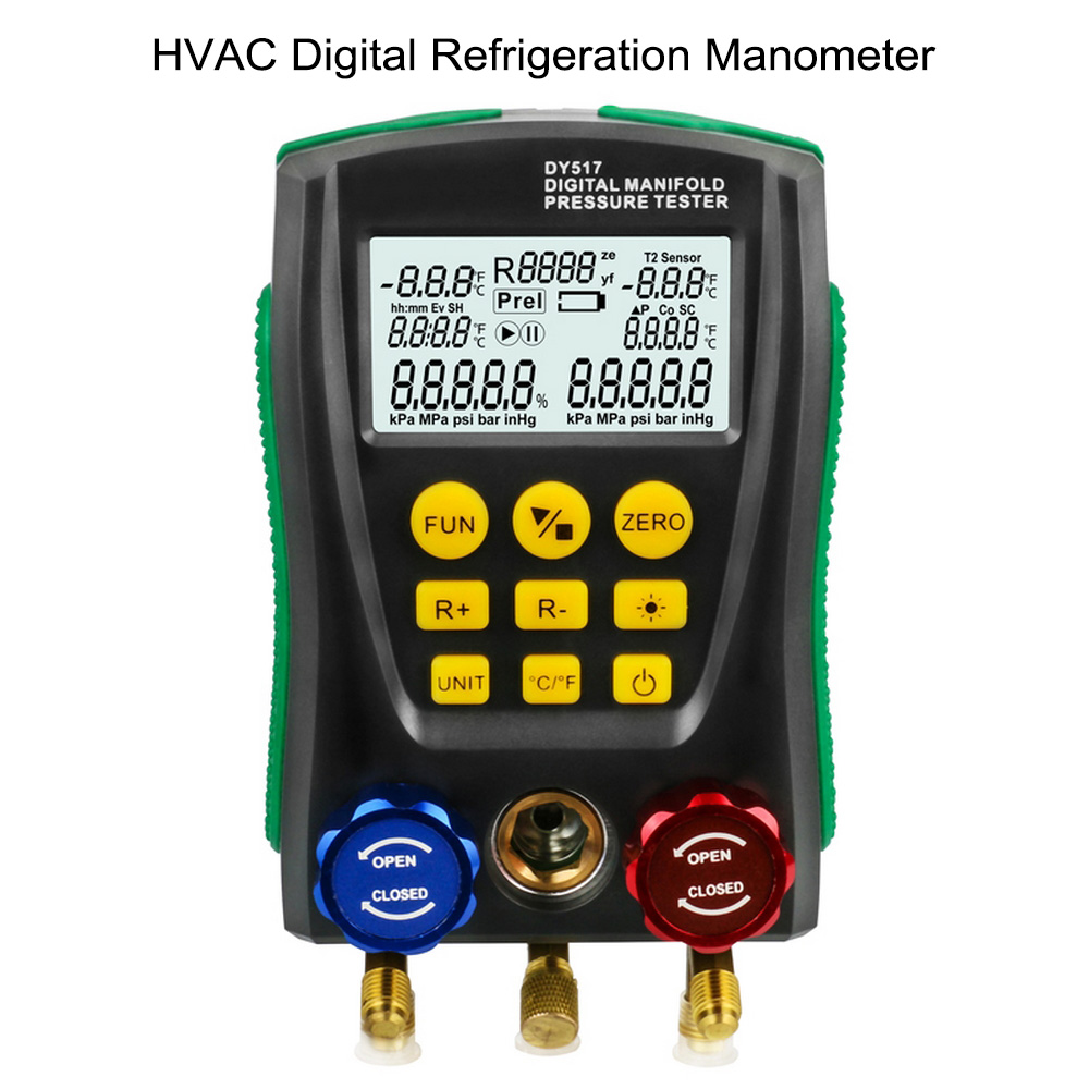 Refrigeration DY517 Pressure Gauge Digital Vacuum Pressure Manifold Tester Meter HVAC Temperature TesterRefrigeration DY517 Pressure Gauge Digital Vacuum Pressure Manifold Tester Meter HVAC Temperature Tester