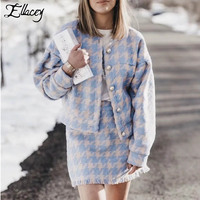 Ellacey Autumn Winter Woolen Plaid Women 2 Pieces Set Houndstooth Checker Skirt Suit Lady Vintage Wool Jacket Tassel Skirt Suit