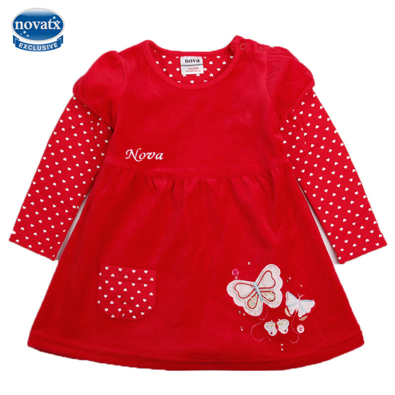 novatx H2005 new autumn winter baby girl dress butterfly kids wear clothes dresses girls hot sale children girl baby dresses novatx h5023 girls clothes reatil new summer baby girl causal bow dress children girl clothing dresses for girl dress hot top
