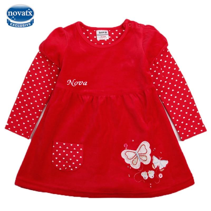novatx H2005 new autumn winter baby girl dress butterfly kids wear clothes dresses girls hot sale children girl baby dresses