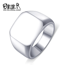 Men's High Polished Signet Solid Stainless Steel Fashion Man's Ring 316L Stainless Steel Biker Unique Ring for Men BR8-177