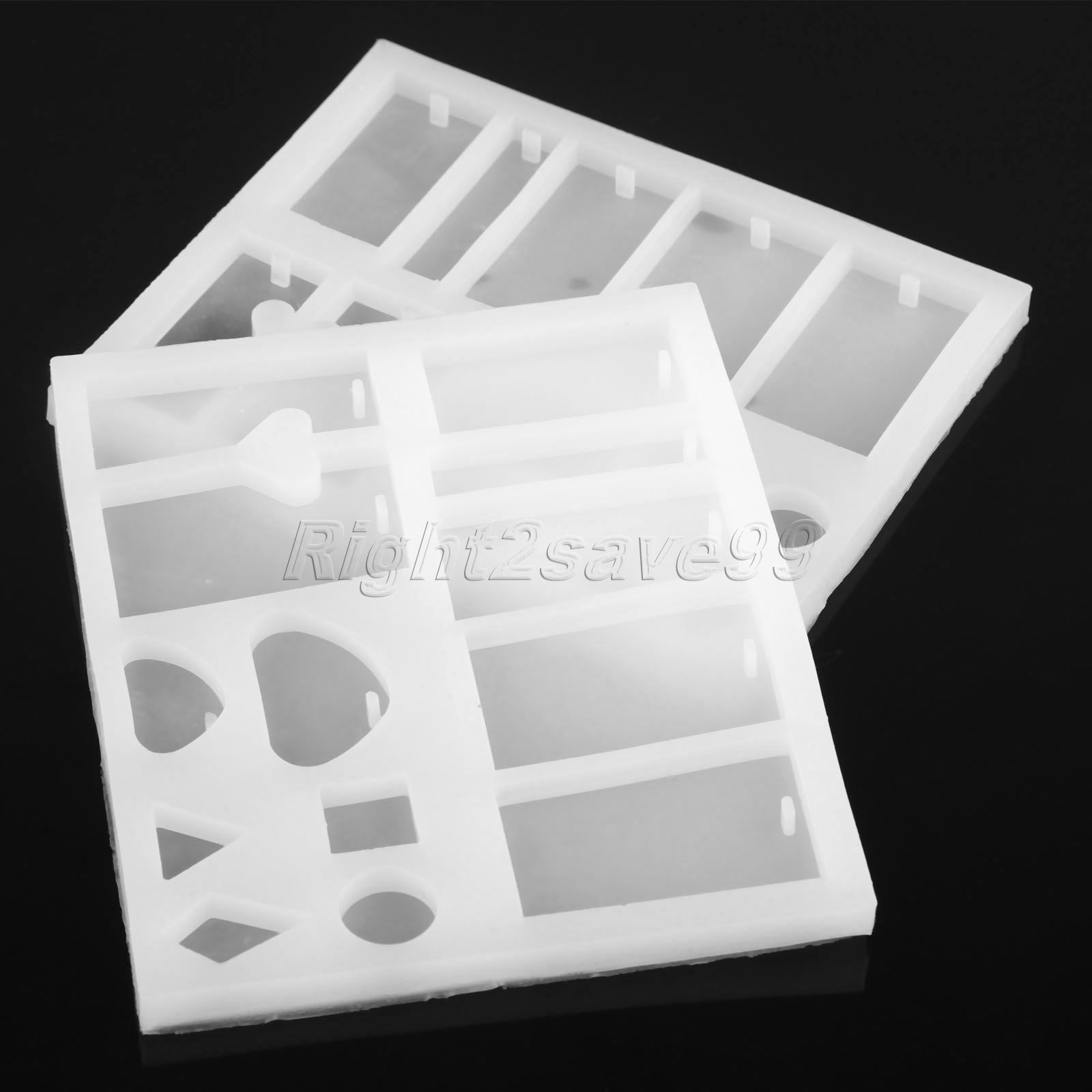 13 Mixed Shape Silicone Mold DIY Jewelry Pendant Resin Craft Rectangle Heart Casting Mould Handmaking Tool Square Diamond Hole