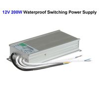 10pcs DC12V 200W Waterproof Switching Power Supply Adapter Transformer For 5050 5730 5630 3528 LED Rigid Strip Light
