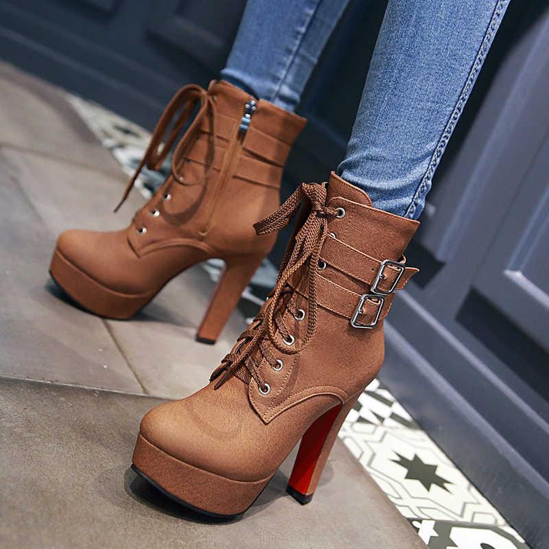 WETKISS Süper Büyük Boy 32-48 Kalın Yüksek Topuklu Ayakkabılar Toka Kayış Dantel Up kısa çizmeler Kadın Patik Platformu Sonbahar kışlık Botlar