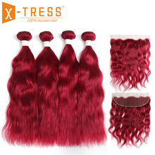 13x4 Lace Frontal With Burgundy Red Color Human Hair Weaves X-TRESS Natural Wave Brazilian Non Remy Hair Bundles With Closure