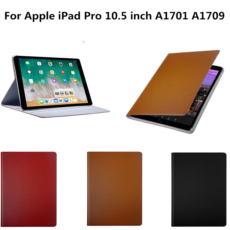 Luxury Genuine Leather Case Cover For Apple iPad Pro 10.5 inch 2017 A1701 A1709 Fashion Simple Flip Stand Protective Shell Funda pu leather tablet case cover for ipad pro 10 5 inch 2017 a1701 a1709 fashion flip stand smart protective shell skin funda capa