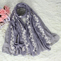 Female Elegant Embroidery Floral Mujer Bufanda Ladies' Ethinic Vintage Cotton Shawls Scarves Long Pashmina Stole Chal NS008
