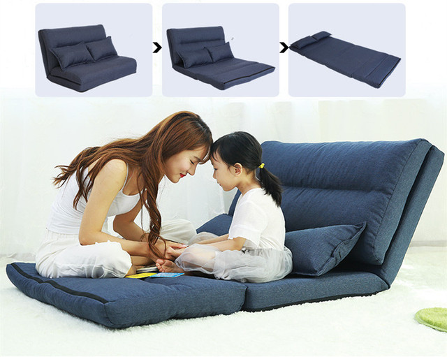 Fabric Upholstery Foldable Modern Leisure Sofa Bed Video Gaming Sofa Multi-functional Folding Sleeping Lazy Sofa Bed Loung Chair