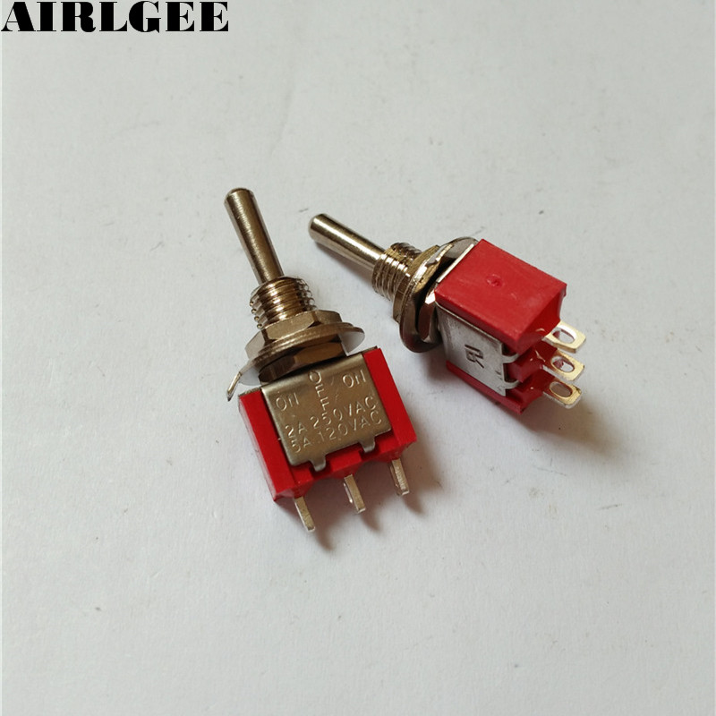 SPDT ON-OFF-ON 3 Position Momentary Electric Toggle Switch AC 120V 5A Red 2pcs 5 x on off small toggle switch miniature spst 6mm ac250v 3a 120v 5a