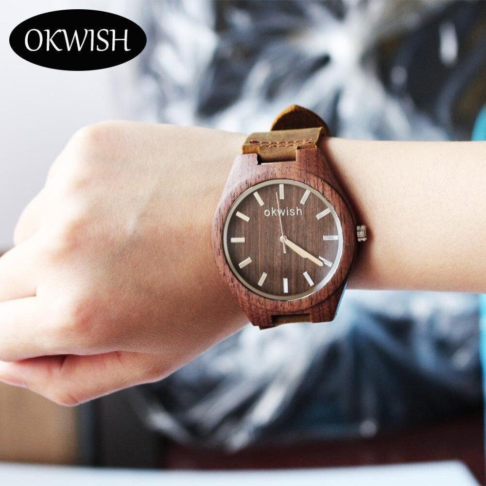 Fashion Men Leather Analog Classic Wooden Vintage Quartz Wrist Watches OKWISH