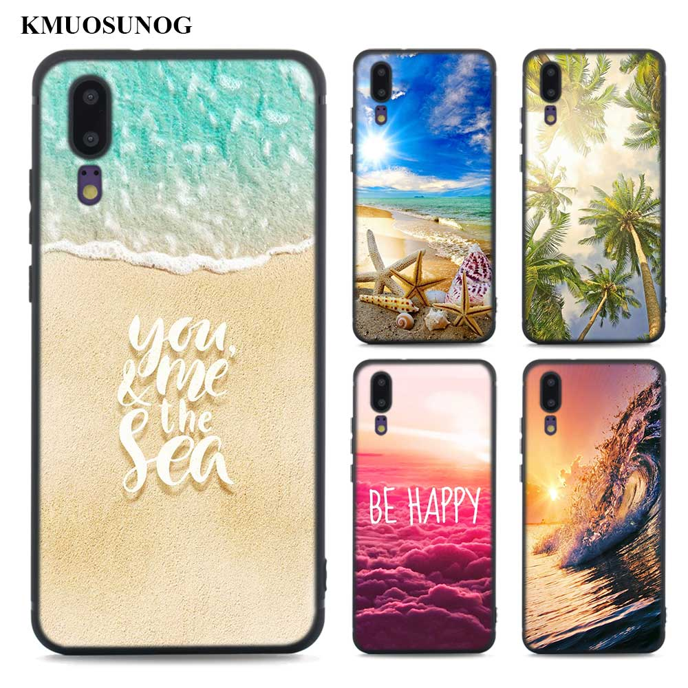 Black Soft Silicone Phone Cases Wave point Ocean Beach Sunset for Huawei Honor P20 7A Pro P Smart P10 P9 Mate 10 9 Lite 2017