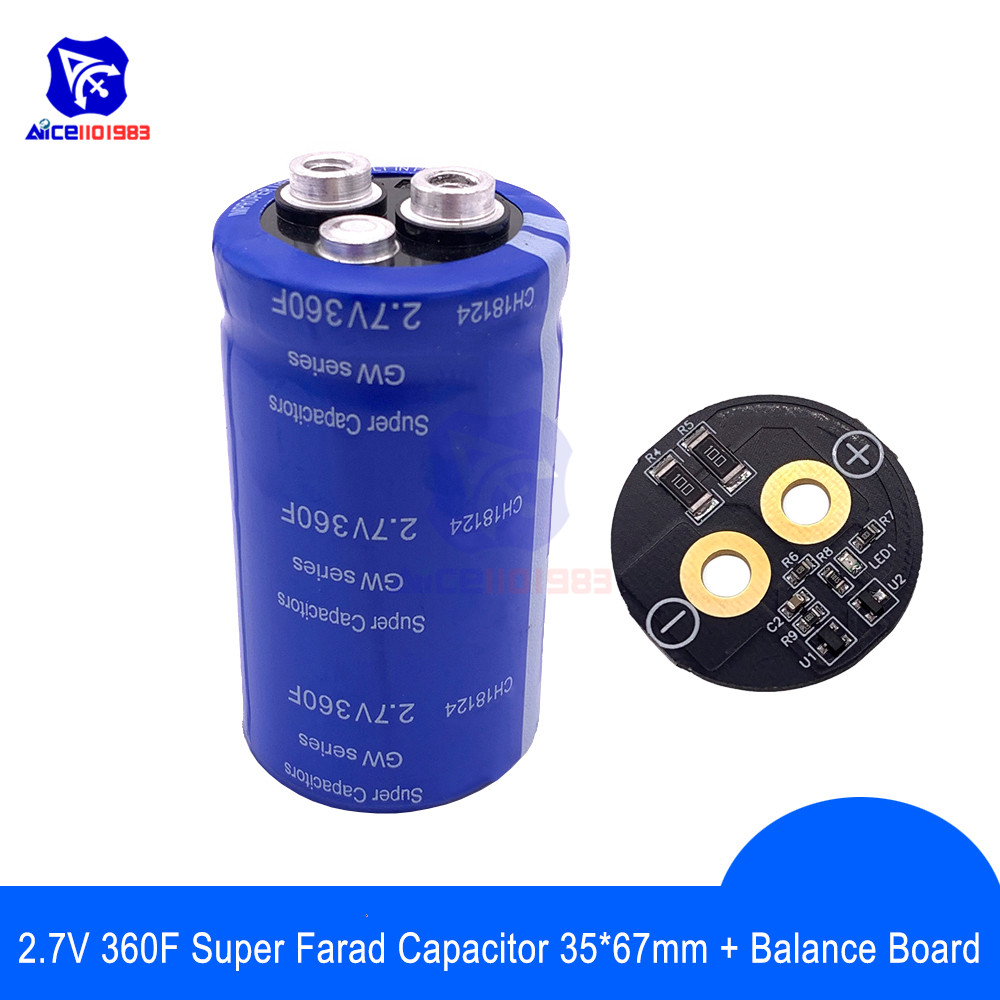 Super Farad Capacitor 2.7V 360F 35*67mm Low ESR  Super Capacitor With Balance Protection Board For Car Stereo Speaker Battery