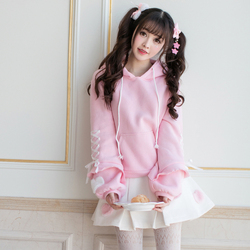 Princess sweet lolita hoodies Candy rain in autumn and winter with cashmere hoodies slim hooded long sleeved hoodies C22CD7289