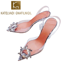 KATELVADI 9CM High Heels Sandals For Summer Clear PVC Vintage Thin Heel Crystal Ladies Wedding Shoes Party K-426