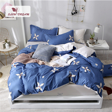 цены SlowDream Blue Duvet Cover Flower Pattern Rubber Sheet Elastic Single 150 Bed Queen Bedspread 3/4PCS Quilt Cover Euro Bedclothes