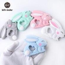 Mordedores bebê silicone dentição brinquedo de coelho dos desenhos animados encantos colar fazendo novo produto para bebê produto comestível patente proprietário vamos fazer