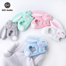 Teethers Baby Silicone Teething Toy Of Cartoon Rabbit Charms Necklace Making New Baby Product Food Grade Patent owner Lets Make