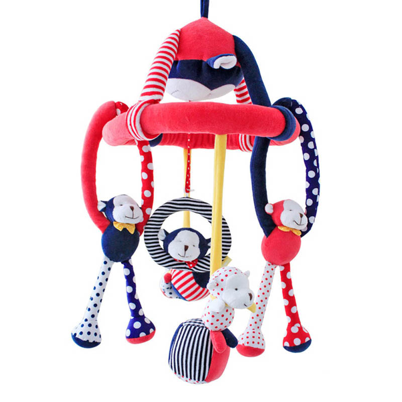 SHILOH 2016 High Quality Musical Mobile Baby Crib Rotating Music Box Plush Doll Pendant removable 60 Songs Active Circus Monkey shiloh 60 songs musical mobile baby crib rotating music box baby toys new multifunctional baby rattle toy baby mobile bed bell