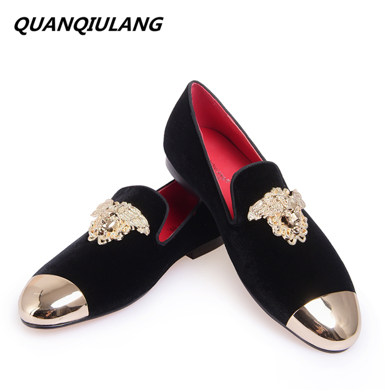 New Fashion Red Bottoms Gold Top and Metal Toe Men Velvet Casual shoes Men Handmade Loafers